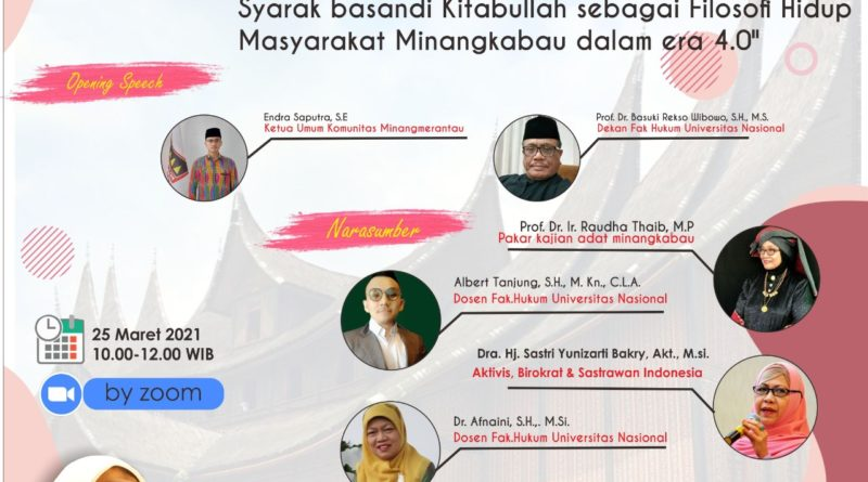 Webinar Pemahaman Adat Basandi Syarak, Syarak basandi Kitabullah sebagai Filosofi Hidup Masyarakat Minangkabau dalam era 4.0