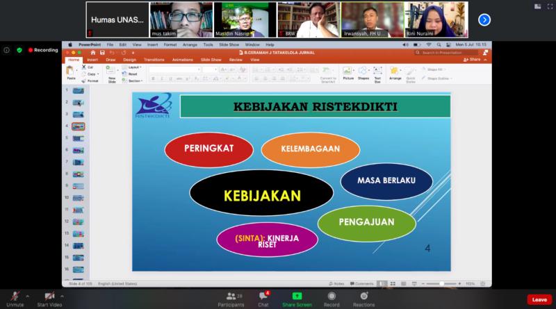 Tingkatkan Kualitas Lulusan, Fakultas Hukum Unas Adakan Workshop Pengelolaan & Akreditasi Jurnal Ilmiah